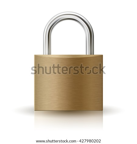 Realistic illustration of  padlock. Closed lock isolated on white, security icon, EPS 10 contains transparency. - stock vector
