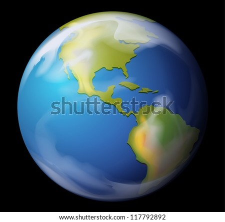 Realistic illustration of the Earth - stock vector