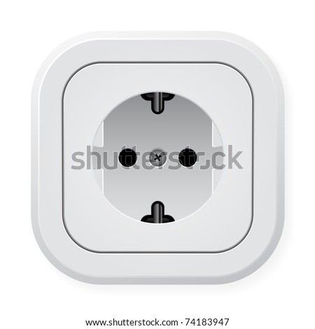 Realistic illustration power outlet. Vector illustration on white background - stock vector