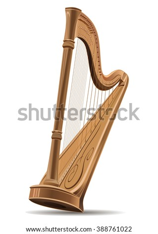 Realistic image of the concert harp isolated on white background. National Irish string musical instrument icon sign. Editable vector illustration