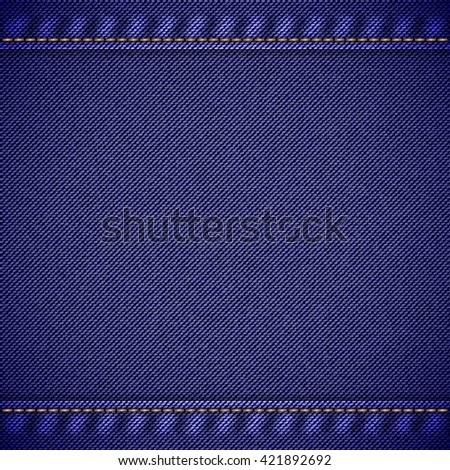Realistic jeans texture in deep blue colors with seams and thread stitches. Denim pattern background. Vector illustration - stock vector