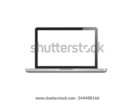 Realistic laptop with blank screen isolated on white background. vector illustration - stock vector