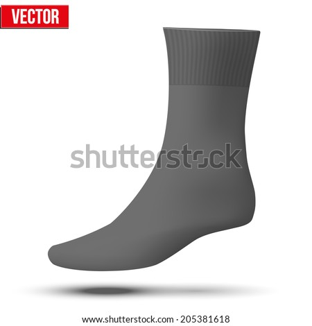 realistic layout black sock template simple stock vector 205381618