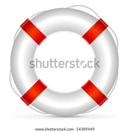 Realistic lifebuoy on white background - stock vector