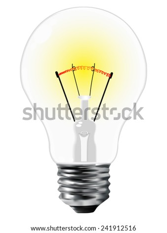 realistic light bulb over white background, abstract vector art illustration, image contains gradient mesh - stock vector
