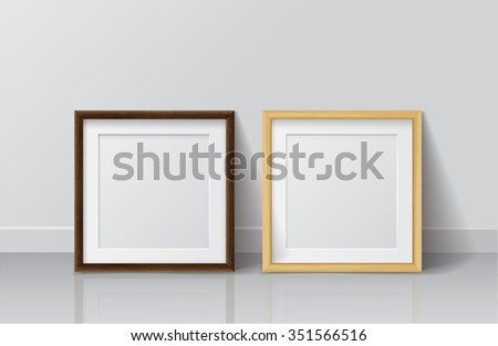 Realistic Light Wood and Dark Wood Blank Picture frame, standing on White Floor at White Wall from the Front.  Vector illustration Design Template for Mock Up.