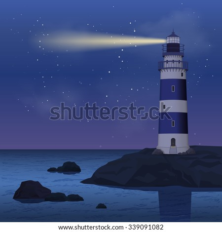 Realistic lighthouse on seashore rock in the night vector illustration - stock vector