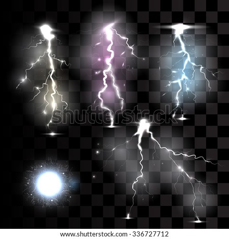 Realistic lightnings on transparent background vector illustration. - stock vector