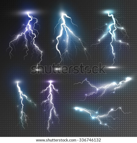 Realistic lightnings set with transparency for design. Magic and bright lighting effects. Natural effects - stock vector