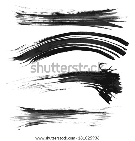 Realistic long thick smears of black paint - stock vector