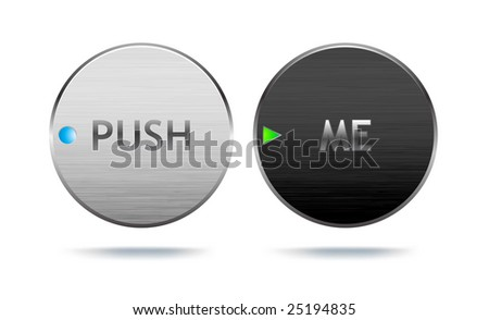 Realistic-looking metal buttons with brushed surface (vector, lots of detail!). - stock vector
