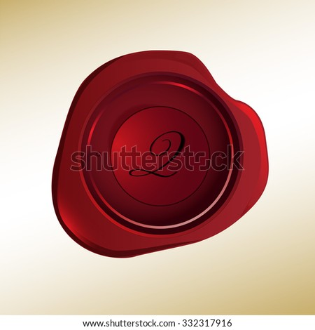 Realistic looking red wax stamp with the initial Q - stock vector