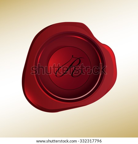 Realistic looking red wax stamp with the initial R - stock vector