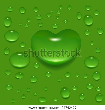 Realistic-looking vector image of dewdrops on the green background (contains gradient mesh elements). - stock vector