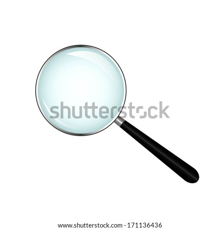 realistic magnifying glass, metal - stock vector