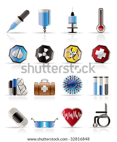 Realistic  medical themed icons and warning-signs - vector Icon Set - stock vector