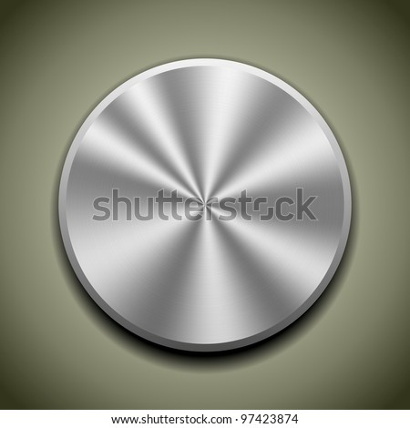 Realistic metal button with circular processing, cone reflection - stock vector