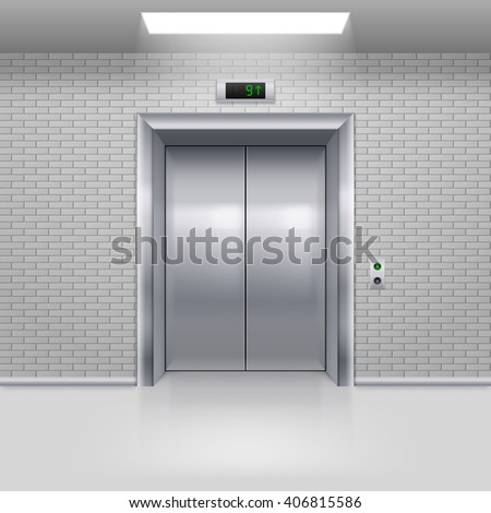 Realistic Metal Modern Elevator with Closed Door in a Brick Wall