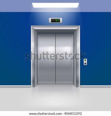 Realistic Metal Modern Elevator with Closed Door in Blue Hall - stock vector