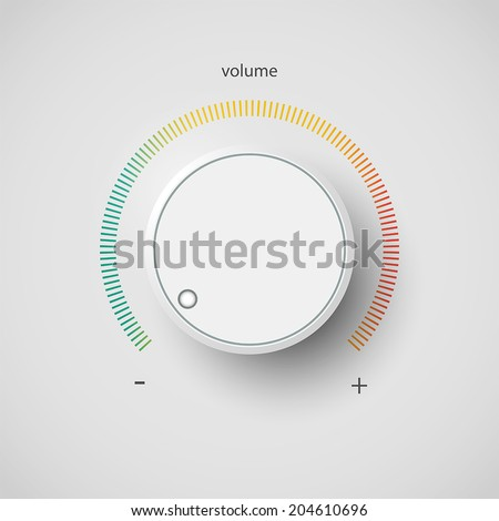 Realistic metal volume control panel tumbler. Music audio sound knob button minimum maximum level. Rotate switch interface stereo tuner isolated on white background. Design element Vector illustration - stock vector