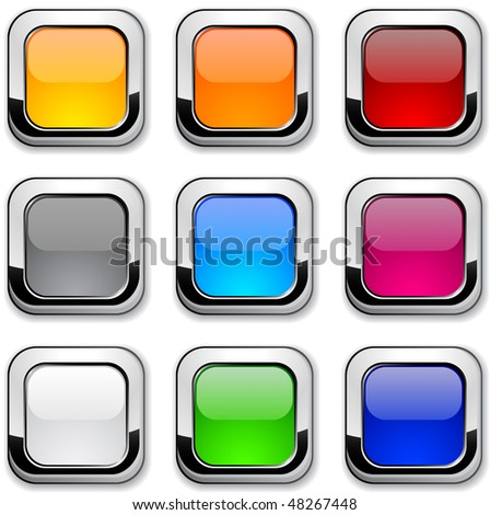 Realistic metallic buttons. - stock vector