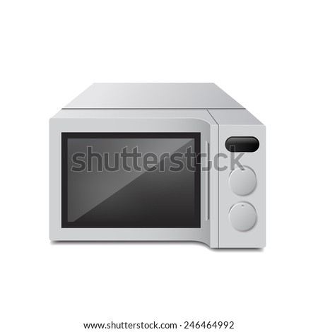 realistic microwave oven on isolated, kitchen object vector illustration - stock vector