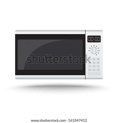 Realistic microwave oven vector on isolated white background - stock vector