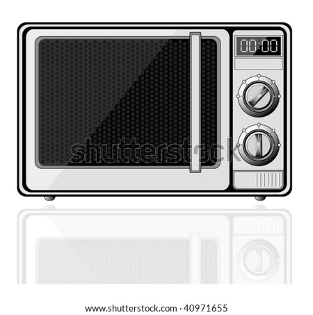 Realistic microwave with reflection isolated on white - vector