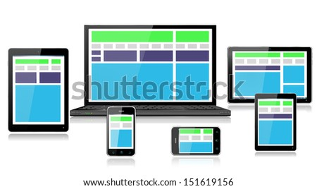 Realistic mobile and computer devices with laptop, tablet, mini tablet and smartphone demonstrating fully responsive style web design - each device grouped on separate layers with reflections, EPS10