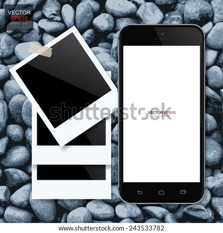 Realistic mobile phone and blank photo frame on natural granite gravel background. Vector illustration. - stock vector