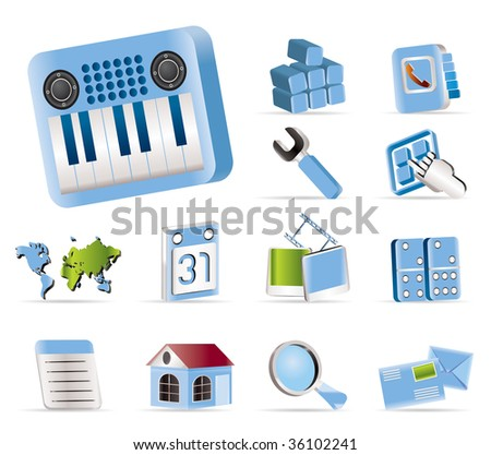 Realistic Mobile Phone and Computer icon - Vector Icon Set - stock vector