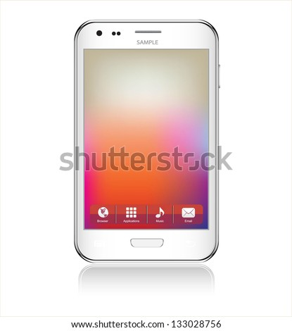 Realistic mobile phone  isolated on white background - stock vector