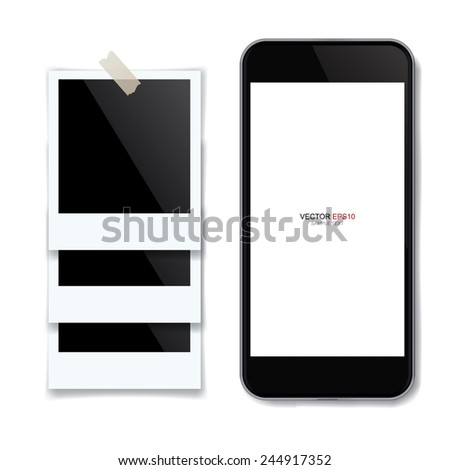 Realistic mobile phone with blank screen area for copy space and blank photo frame on white background. Vector illustration. - stock vector