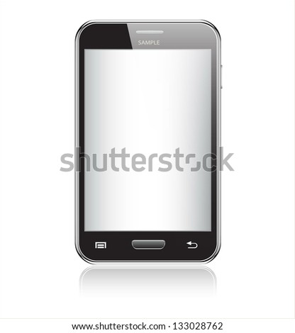 Realistic mobile phone with blank screen isolated on white background - stock vector