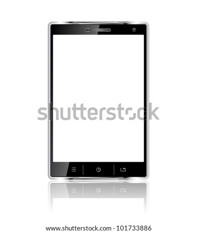 Realistic mobile phone with blank screen isolated on white background. Vector eps10