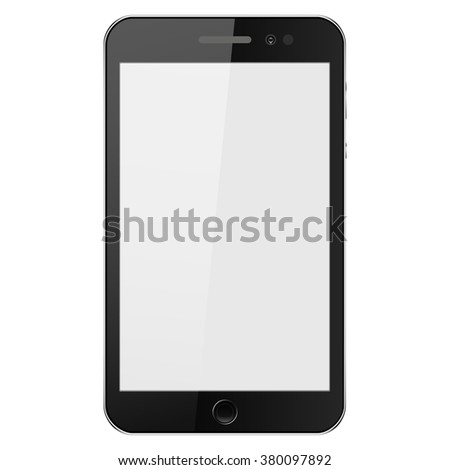 realistic mobile phone with buttons, with shadow on a gray background, vector illustration - stock vector