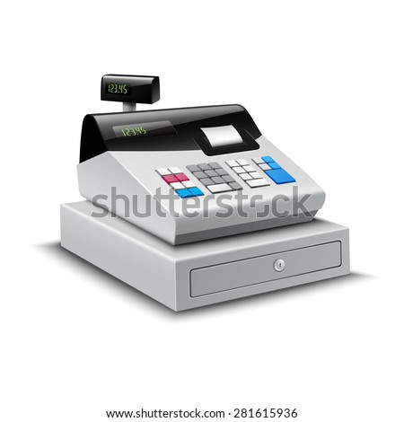 Realistic modern cash register with digital display isolated on white background vector illustration - stock vector