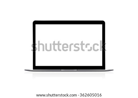 Realistic modern laptop isolated on white background. Vector illustration - stock vector