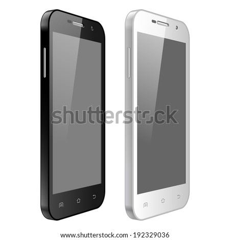 Realistic Modern mobile phone set. Touchscreen. Black and white, vector illustration  - stock vector