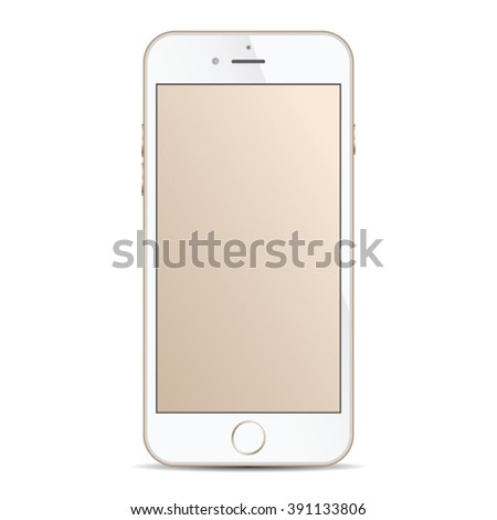 Realistic modern smart iphon with gold color isolated. - stock vector