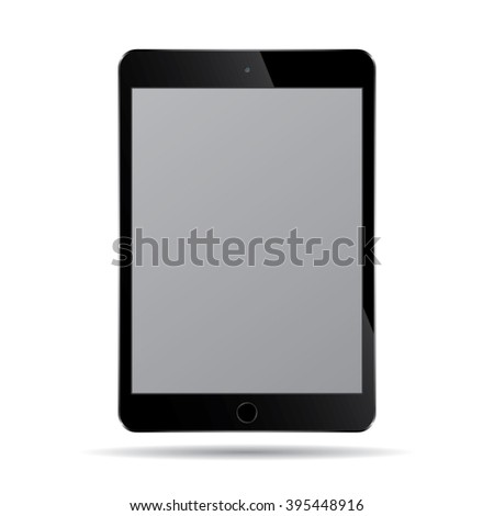 Realistic modern smart tablet ipad illustration with black color isolated.