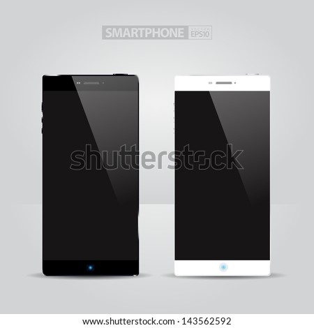 Realistic Modern Smartphone Concept (white and black) / EPS10 Vector Illustration / can be use for web elements, infographics, banners, advertising, applications / - stock vector