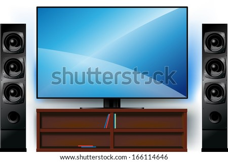 realistic modern TV on a stand and home theater - stock vector
