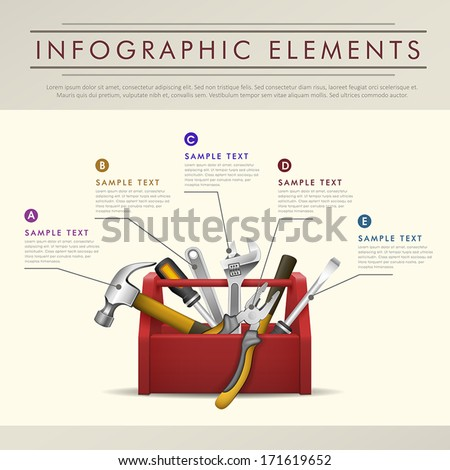 realistic modern vector abstract toolbox theme infographic elements - stock vector