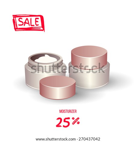 Realistic moisture cream. Opened and closed samples. Isolated elements on white background.Highly detailed illustration. Vector. - stock vector