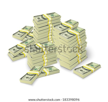 Realistic money stacks concept of 3d dollar banknotes piles vector illustration - stock vector