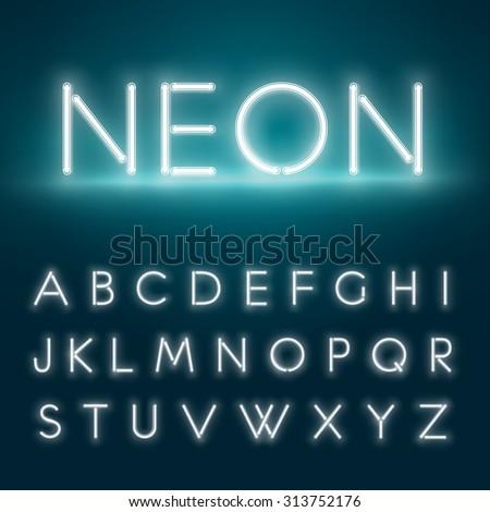 Realistic neon alphabet. Glowing font. Vector format - stock vector