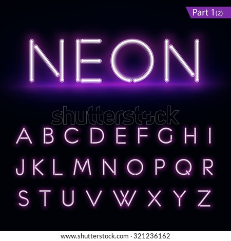 Realistic neon alphabet. Purple, blue glowing font. Vector format part 1 - stock vector