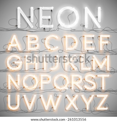 Realistic neon alphabet with wires, vector - stock vector