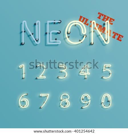 Realistic neon character number set, vector - stock vector